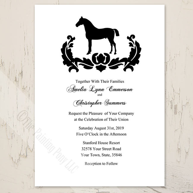 Damask horse wedding invitations