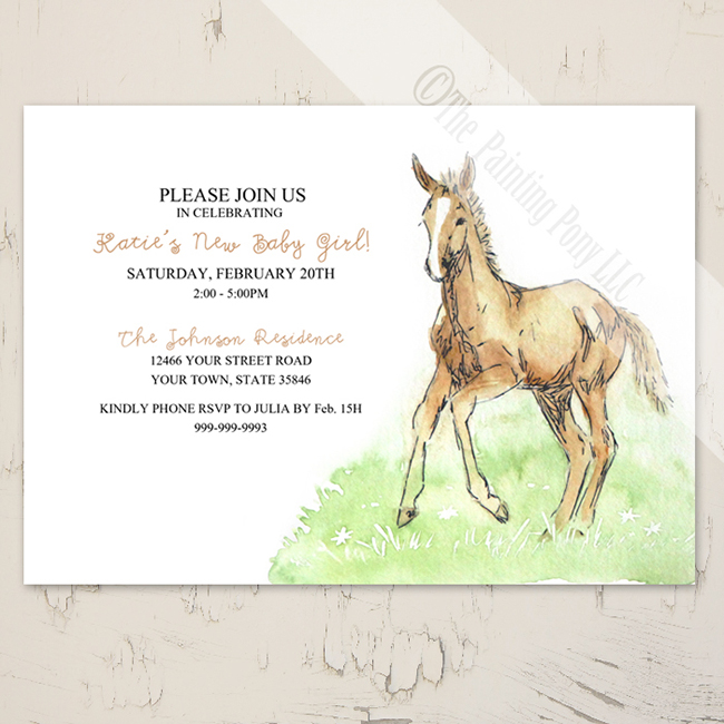 Foal baby horse invitation