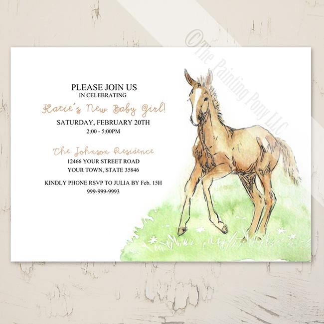 Foal baby horse invitation