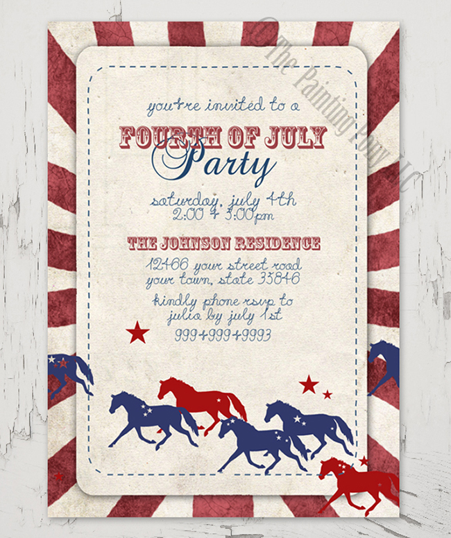 Fourth of July equestrian themed party invitations