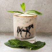 Mint Julep Milkshake with Vintage Horse Glass