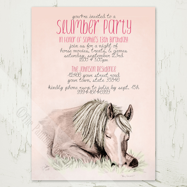 Pony Dreams Slumber party invitations