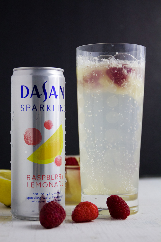 Raspberry lemonade mocktail with Dasani Sparkling