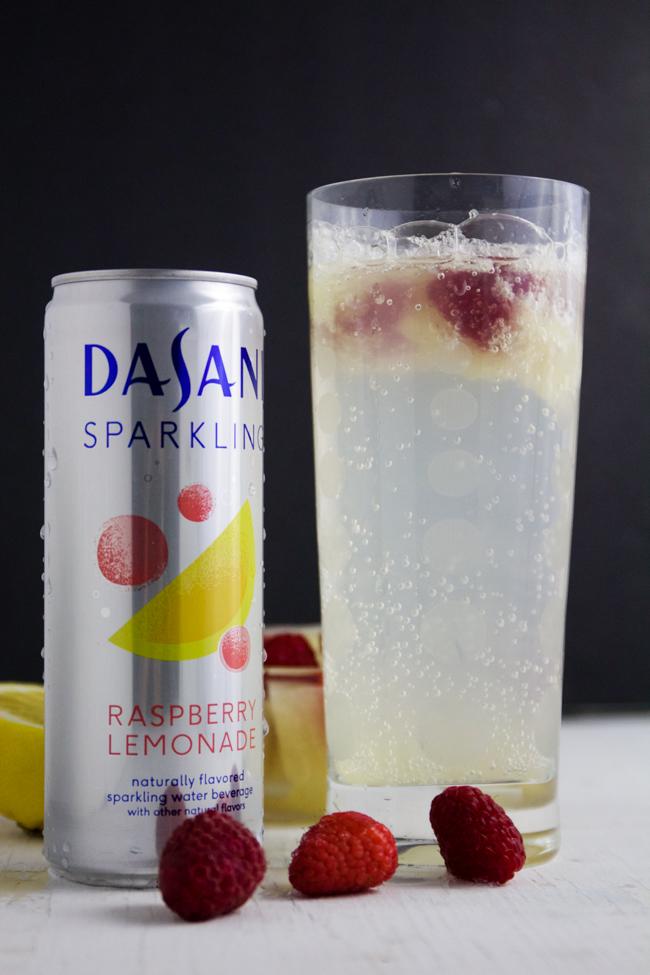 Raspberry lemonade mocktail with Dasani Sparkling