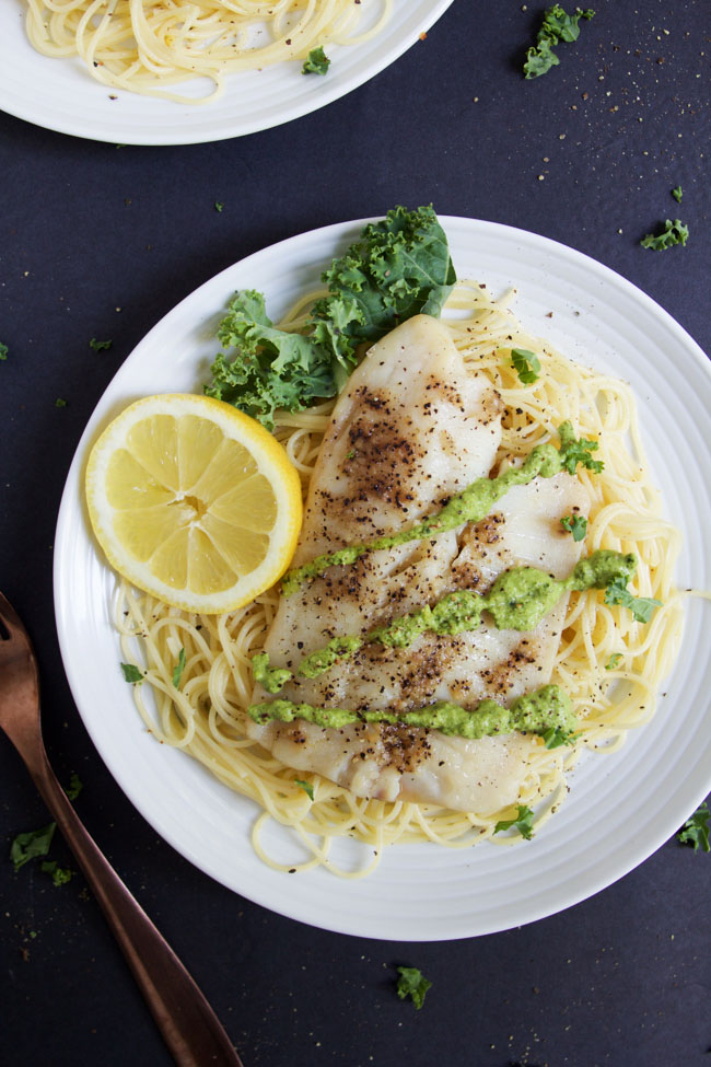 Tilapia with Garlic & Extra Virgin Olive Oil over lemon pasta