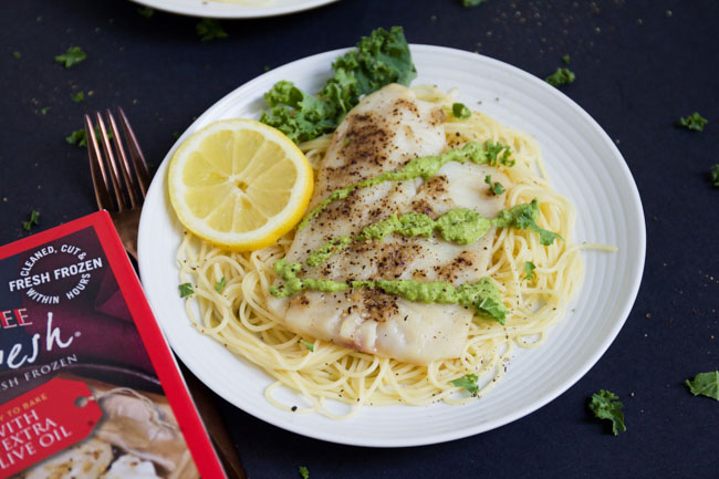 Tilapia with Angel Hair and Kale Pesto