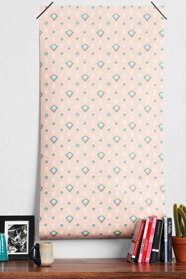 pink geometric peel and stick wallpaper