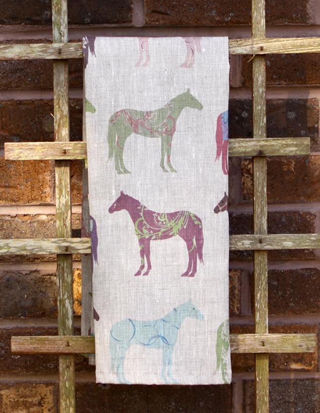 Colorful horses pattern tea towel