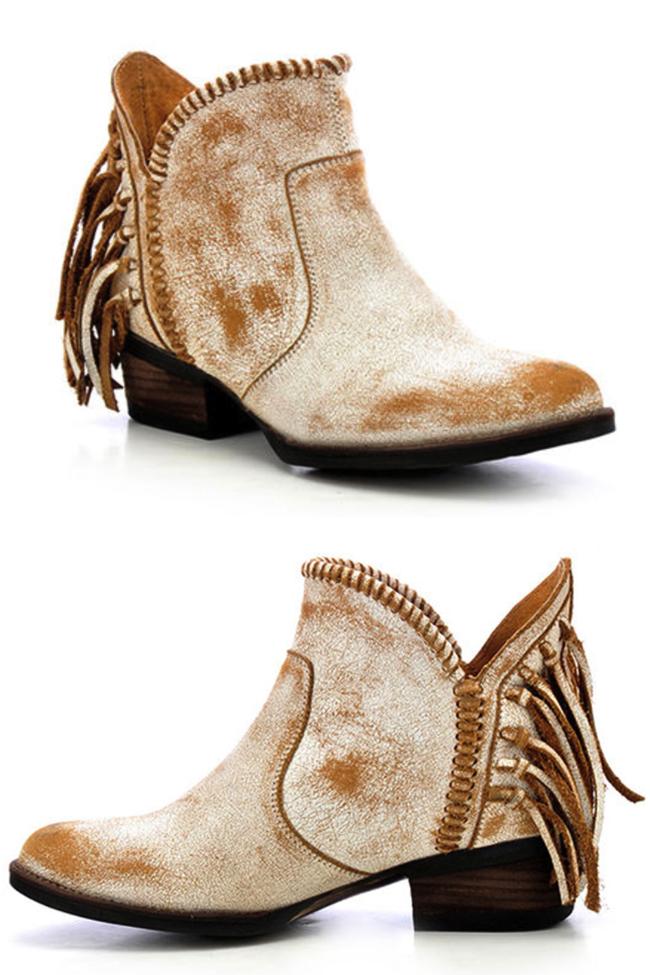 Corral Circle G white fringe ankle boot