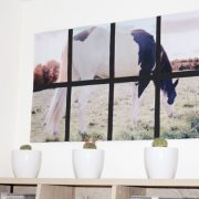 Oversized tiled horse art for the home office