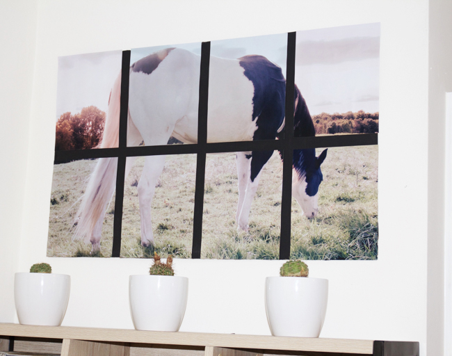 Oversized tiled horse art for the home office, equestrian style