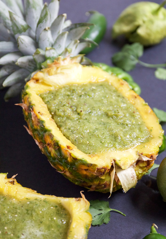 Pineapple salsa verde served in a pineapple bowl