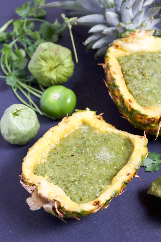 Pineapple salsa verde served up in a pineapple bowl