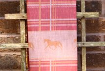 Pink plaid horse tea towel