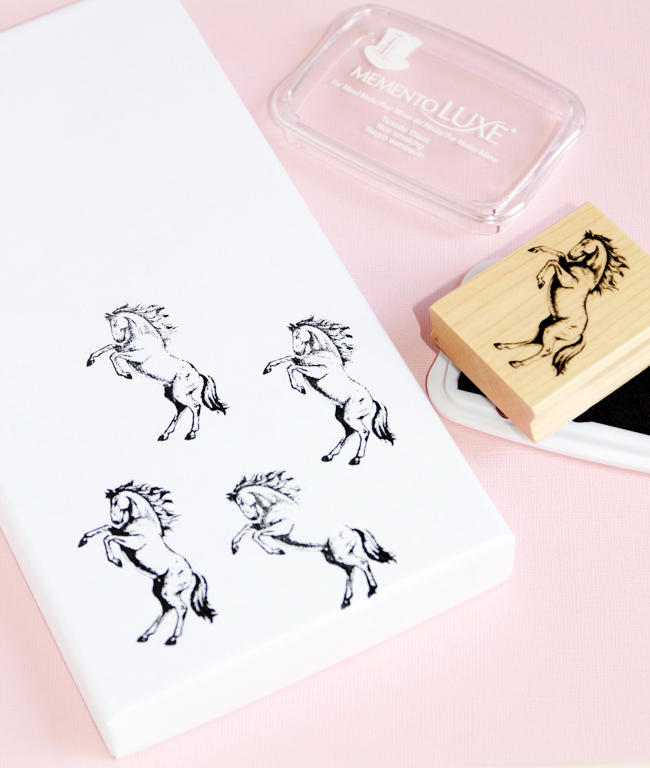 Stamping storage boxes with horse stamps