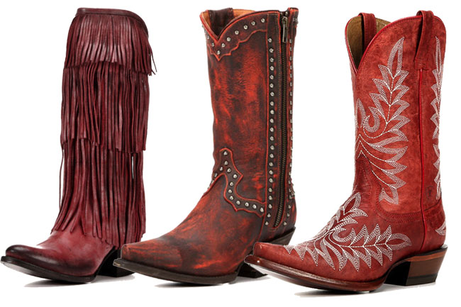 3 Pairs of Red Cowboy Boots for July 4th