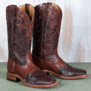 Brown tooled leather cowboy boots by Boulet