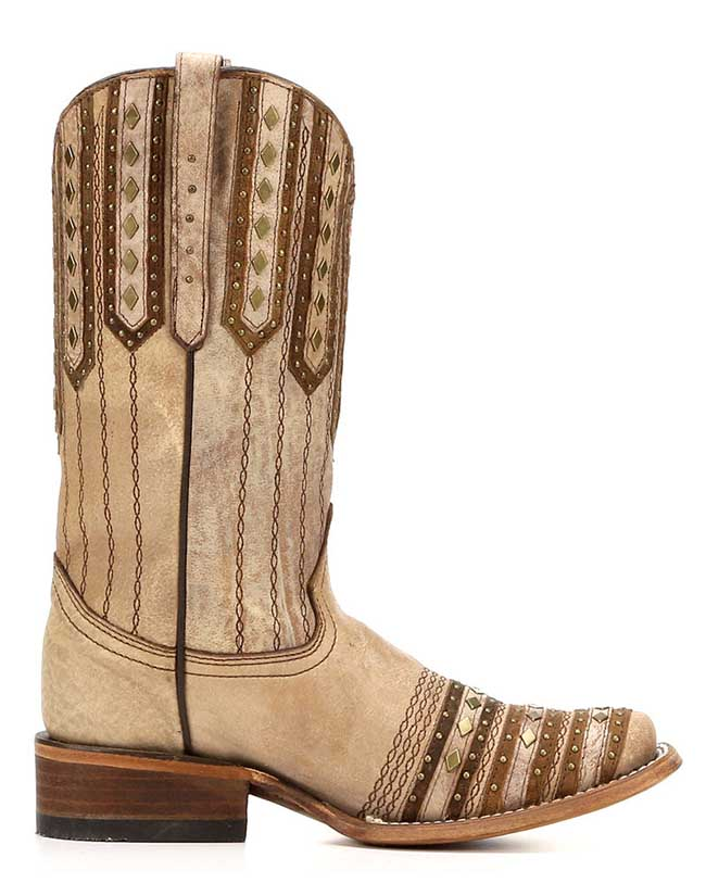Corral studded square toe cowboy boots