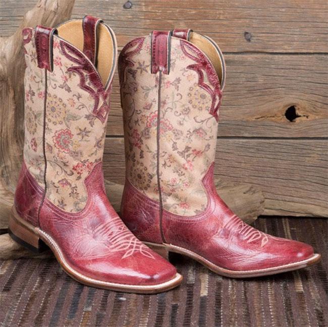 Red floral Boulet cowboy boots