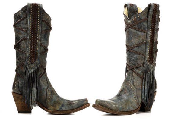 Corral Boots distressed leather and fringe snip toes