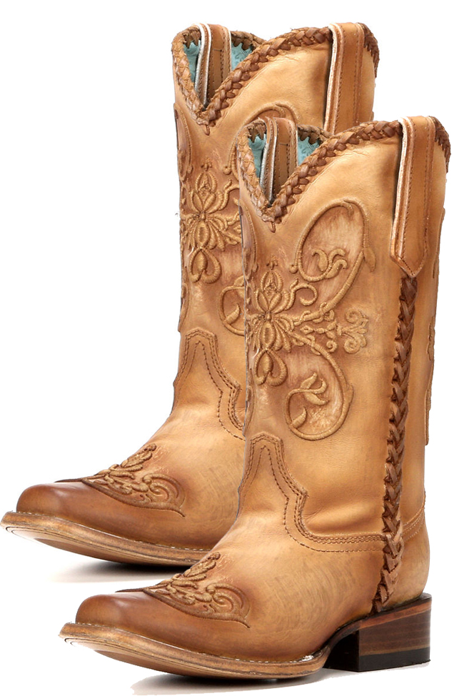 Corral brown square toe cowboy boots