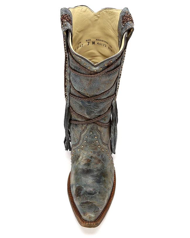 Corral fringe overlay cowboy boots