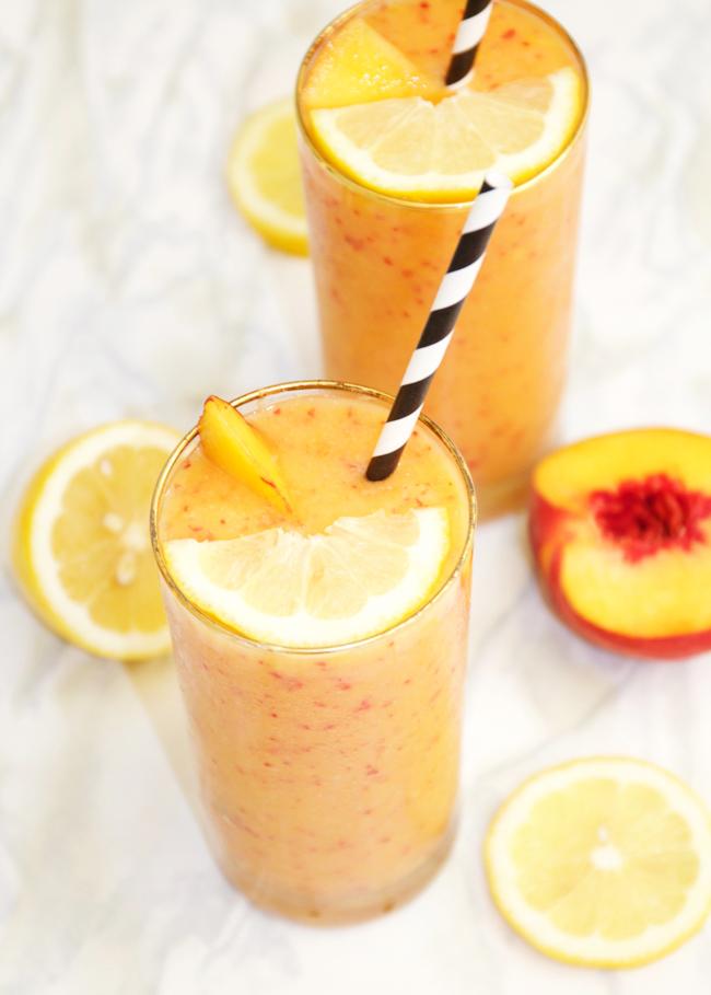 Frozen peach blender lemonade recipe for summer