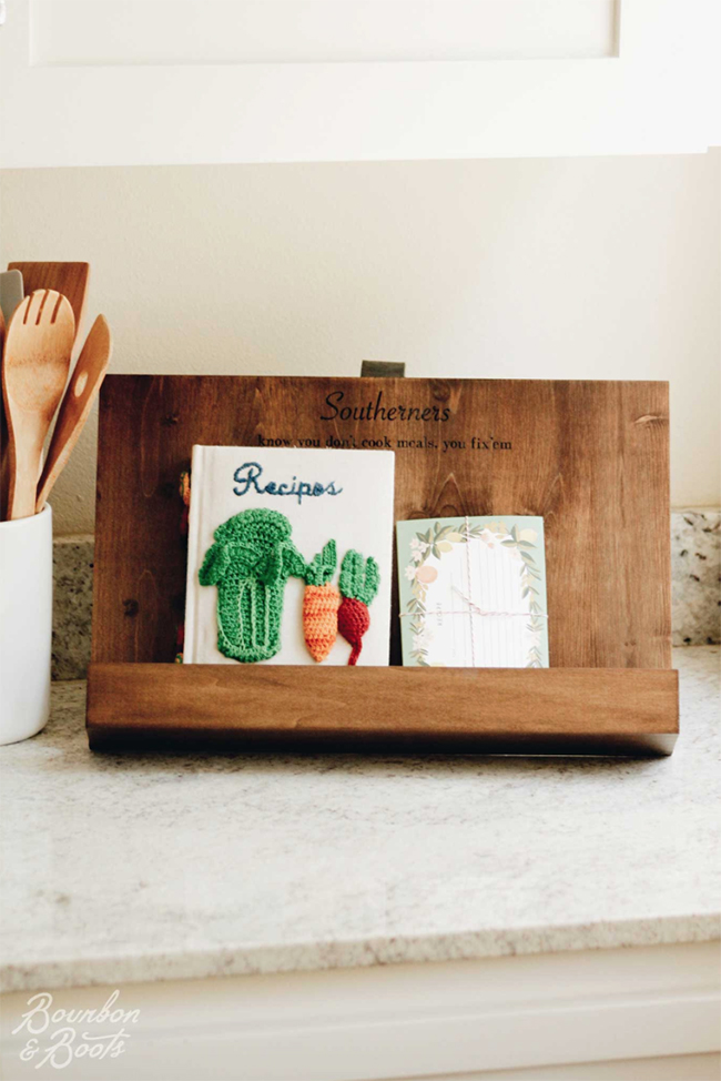 Recipe cookbook holder for the kitchen