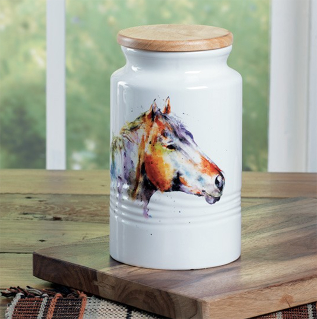 Colorful horse canister