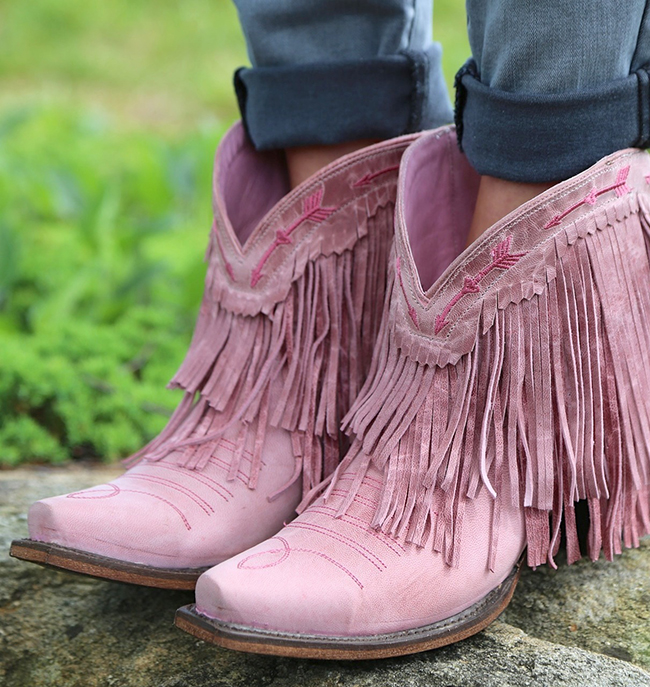 Junk Gypsy by Lane pink fringe boots