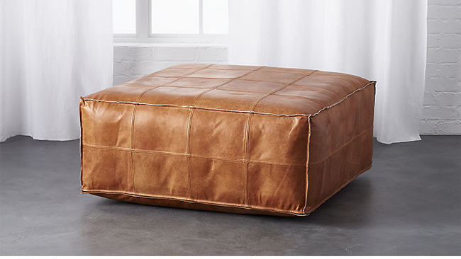 Leather Ottoman Saddle brown