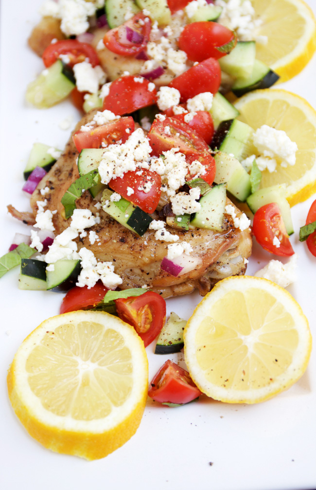 Mediteranean chicken with feta, tomato, and cucumbers