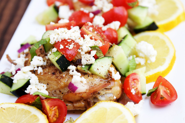 Mediteranean chicken with lemon, feta, tomato, and cucumbers