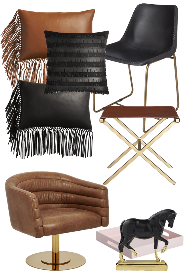 Brass, leather, and neutral tones for fall