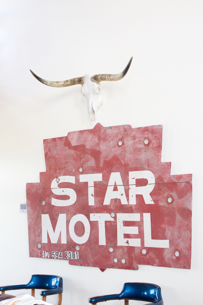 an old sign and a steer skull