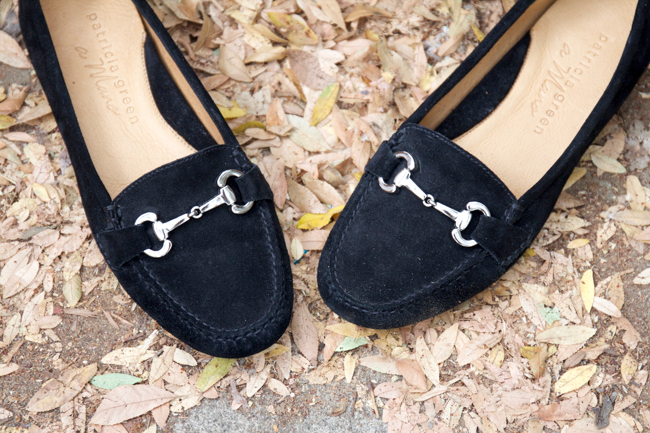 Patricia Green Carrie black suede snaffle bit loafers