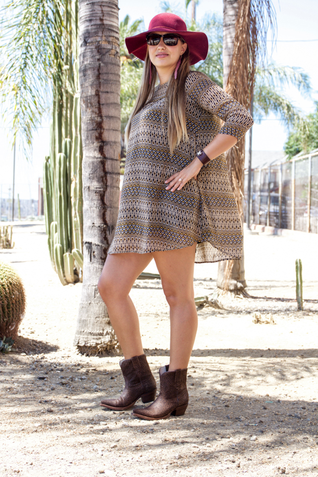 transitioning into fall with mismatched prints and leopard boots