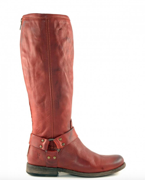 Frye harness boots in red