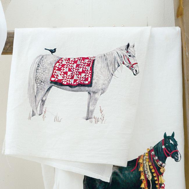 horse jingle bells flower sack towel