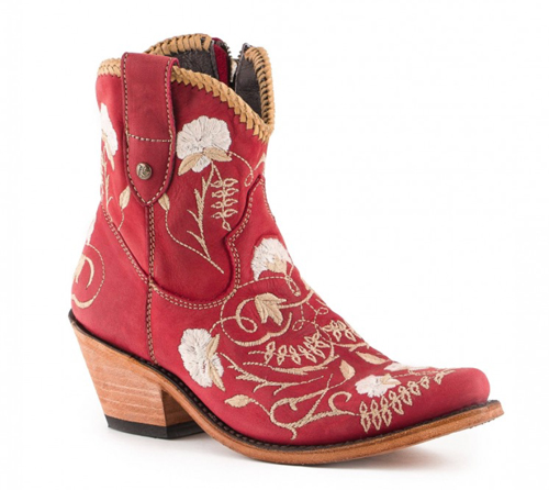 Liberty Black red and floral ankle boots
