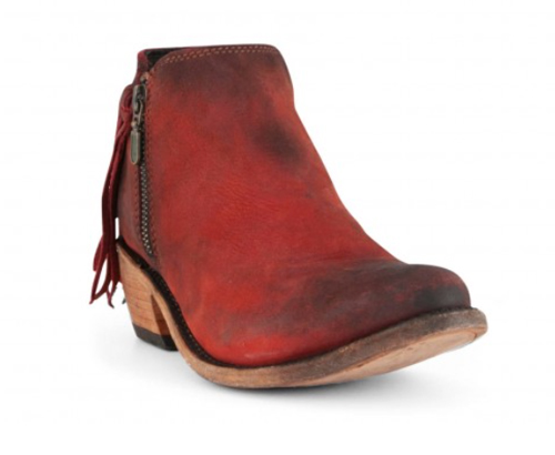 Liberty black red ankle boots