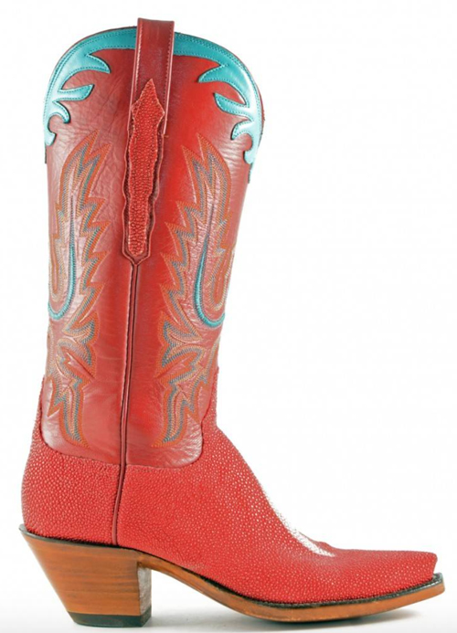 Lucchese stingray red and turquoise classics