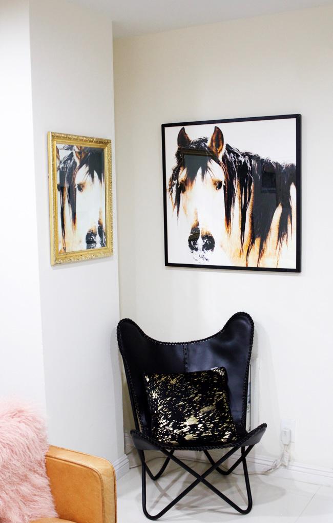 oversized horse art dresses up an empty corner