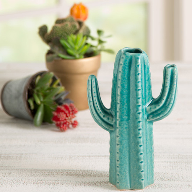 blooming cactus vase