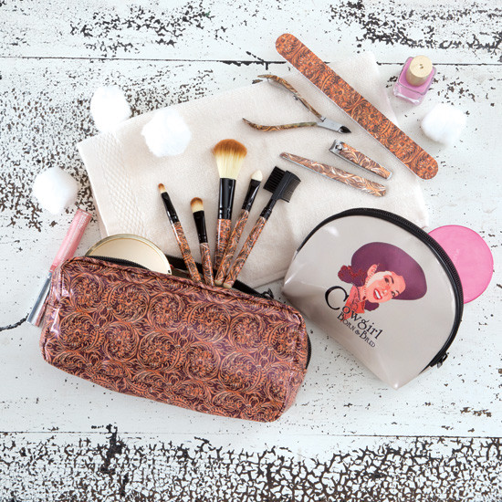 cowgirl makeup pouch and accessories