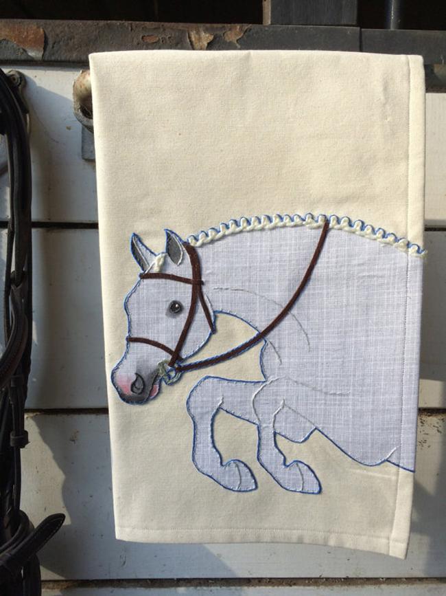 jumper horse tea towel