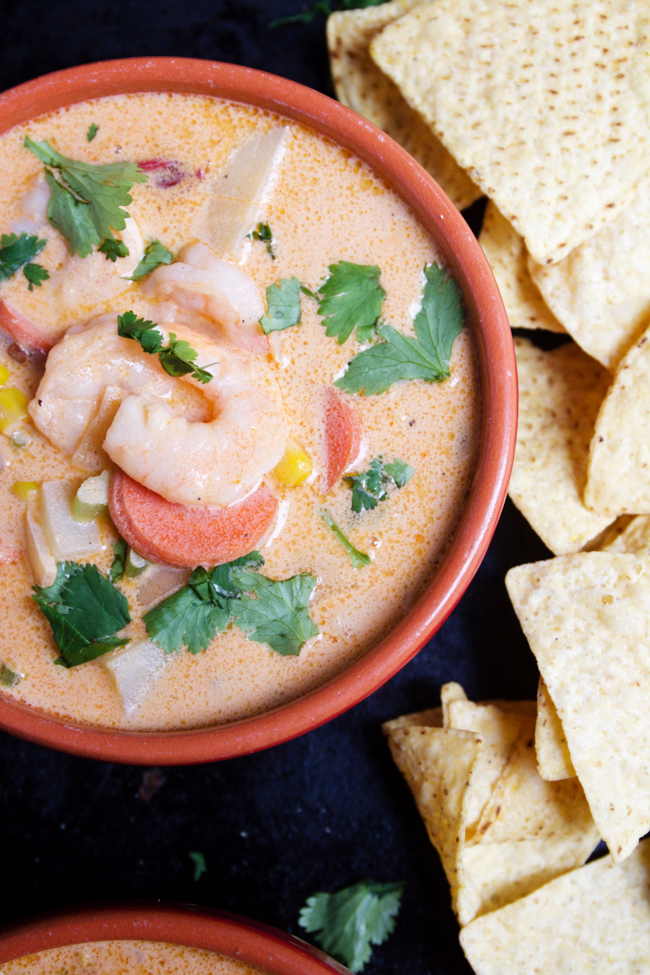 Chipotle shrimp chowder with tortilla chips