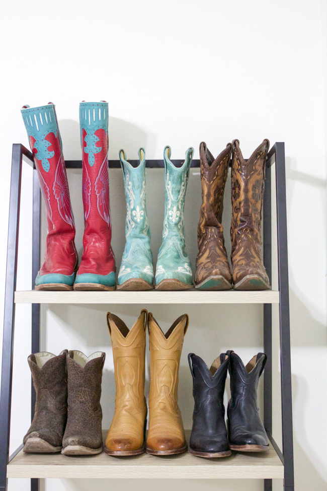 cowboy boots on the shelf