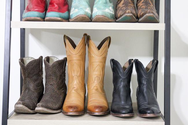 cowboy boots on a shelf