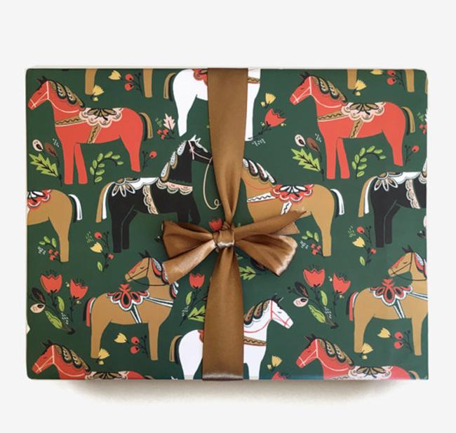 Green Dala horse gift wrap